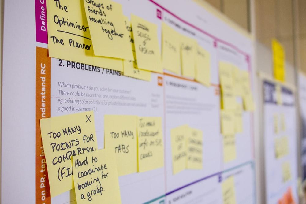 Planning board with post-it notes